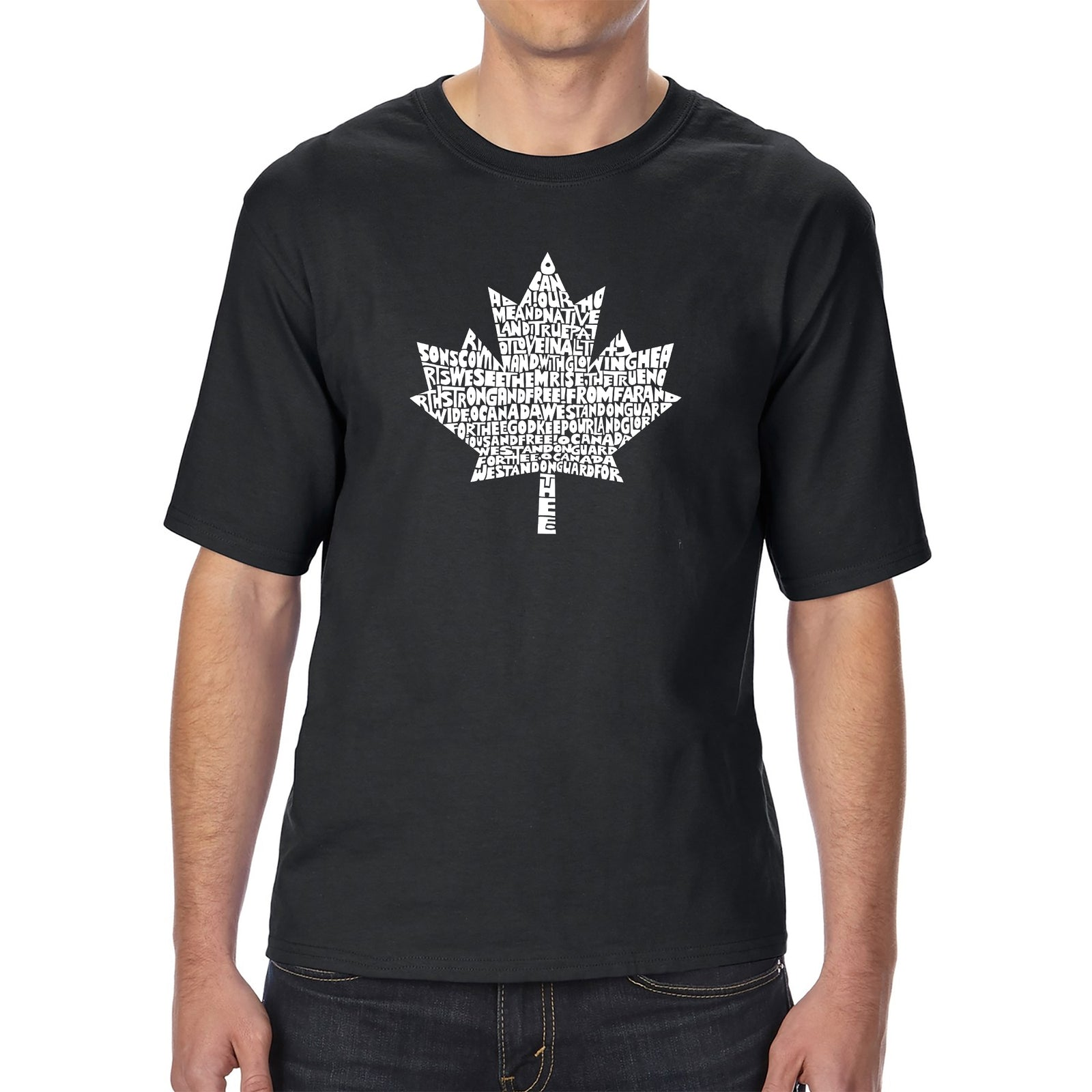 Men's Tall and Long Word Art T-shirt - CANADIAN NATIONAL ANTHEM