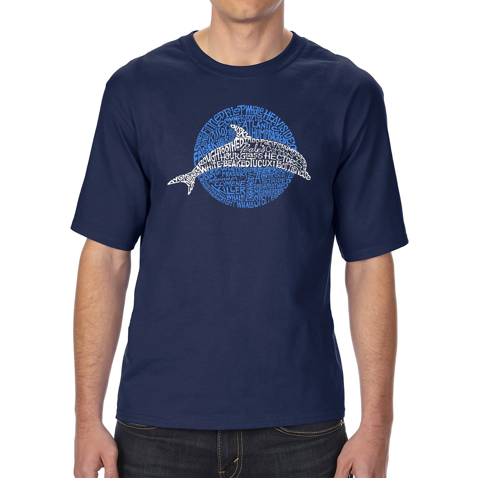 Men's Tall and Long Word Art T-shirt - Species of Dolphin
