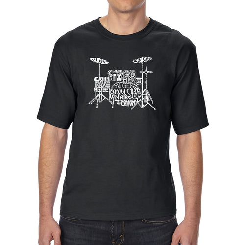 Men's Tall and Long Word Art T-shirt - Drums