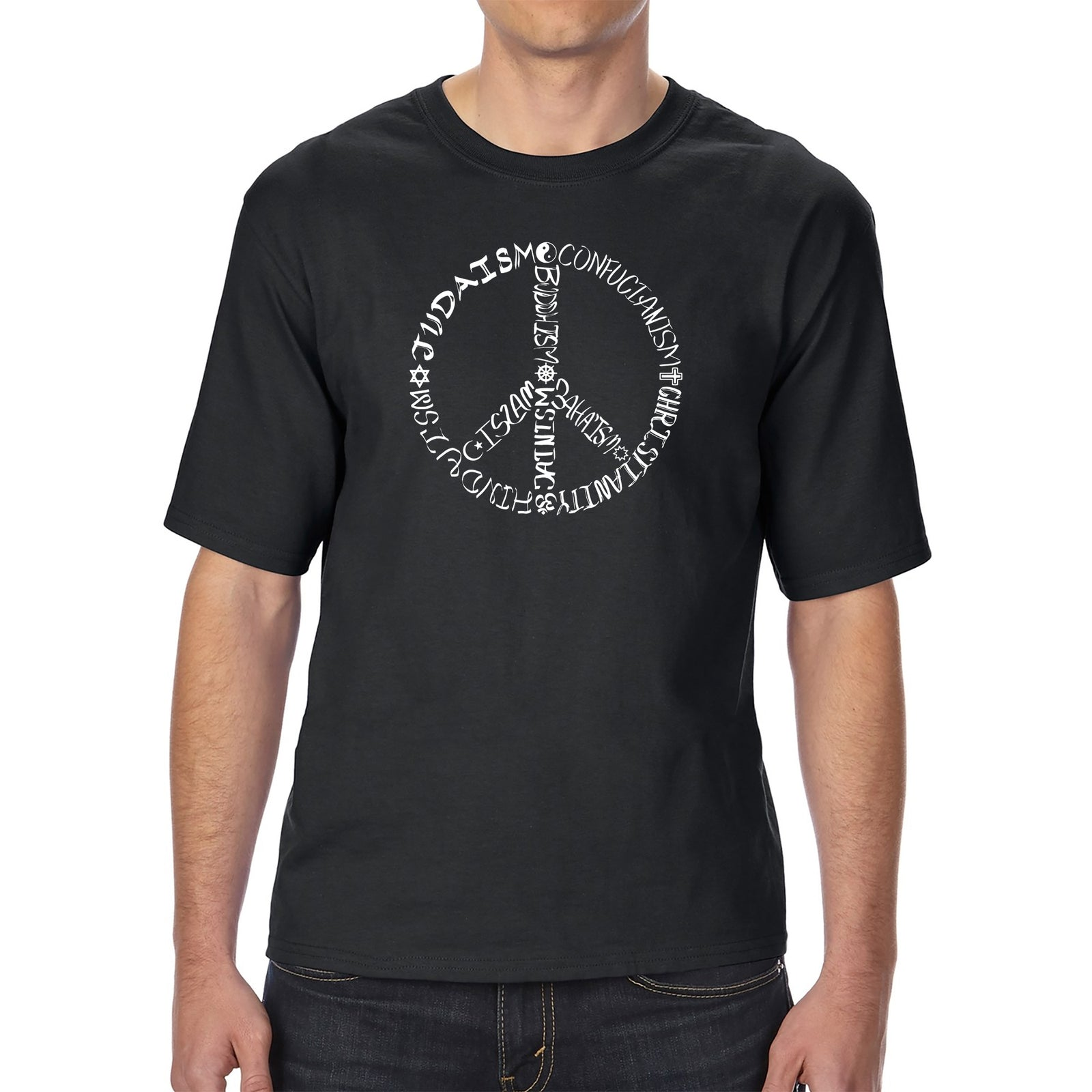 Men's Tall and Long Word Art T-shirt - Different Faiths peace sign