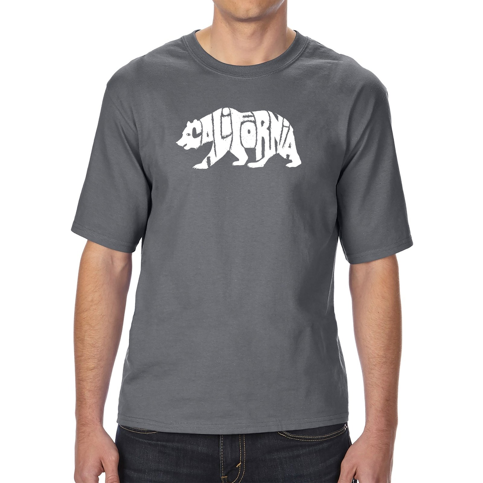 Men's Tall and Long Word Art T-shirt - California Bear