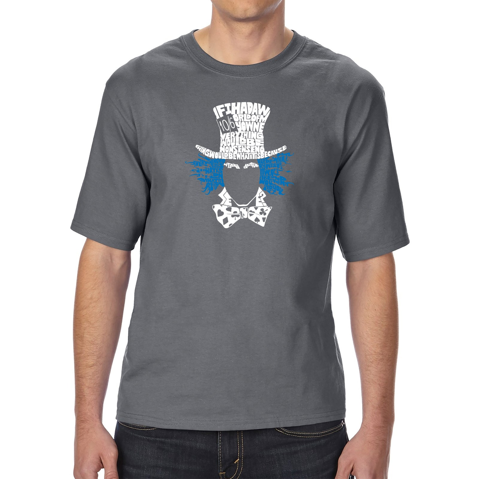 Men's Tall and Long Word Art T-shirt - The Mad Hatter