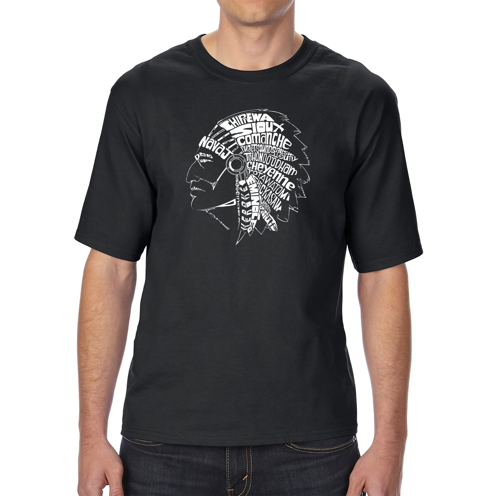 Men's Tall and Long Word Art T-shirt - POPULAR NATIVE AMERICAN INDIAN TRIBES