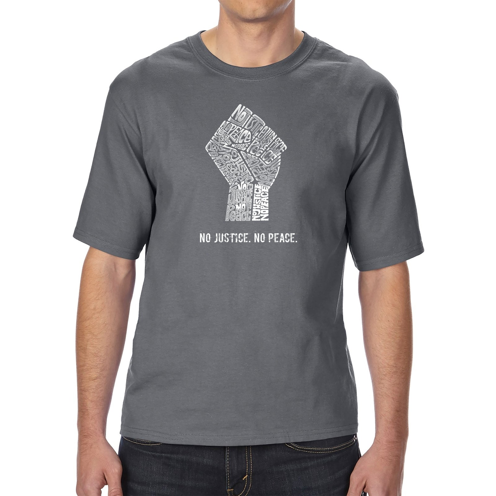 Men's Tall and Long Word Art T-shirt - No Justice, No Peace