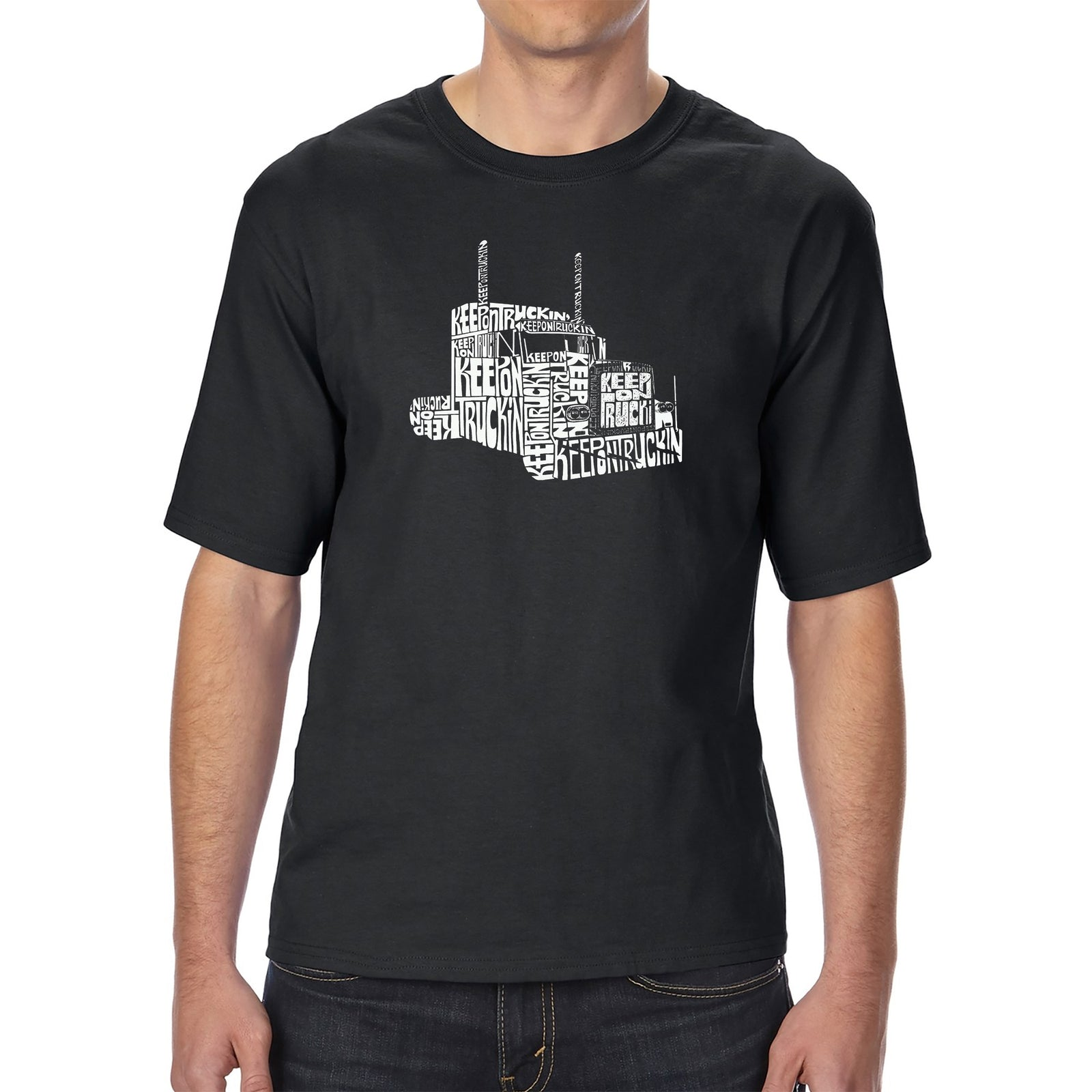 Men's Tall and Long Word Art T-shirt - KEEP ON TRUCKIN'