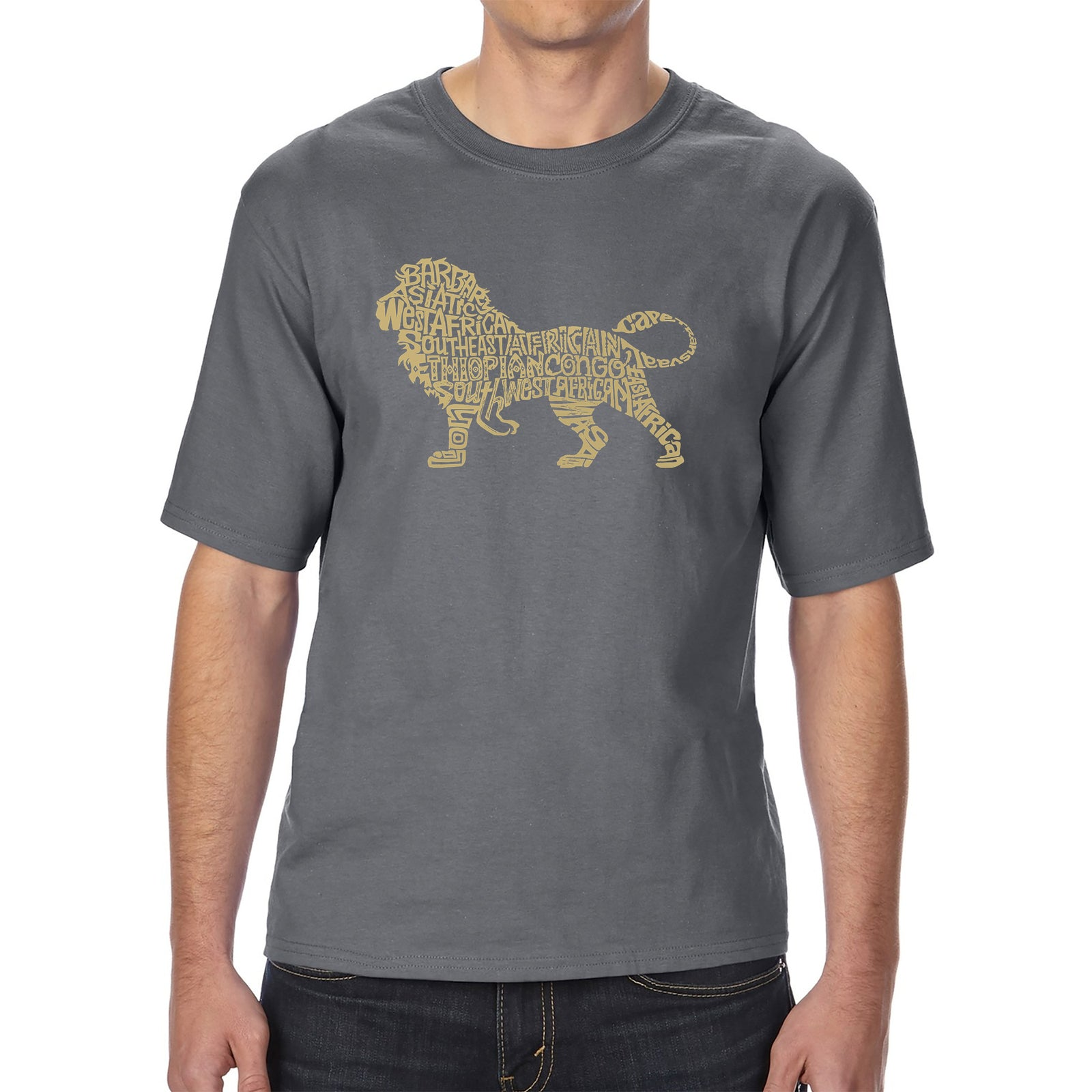 Men's Tall and Long Word Art T-shirt - Lion