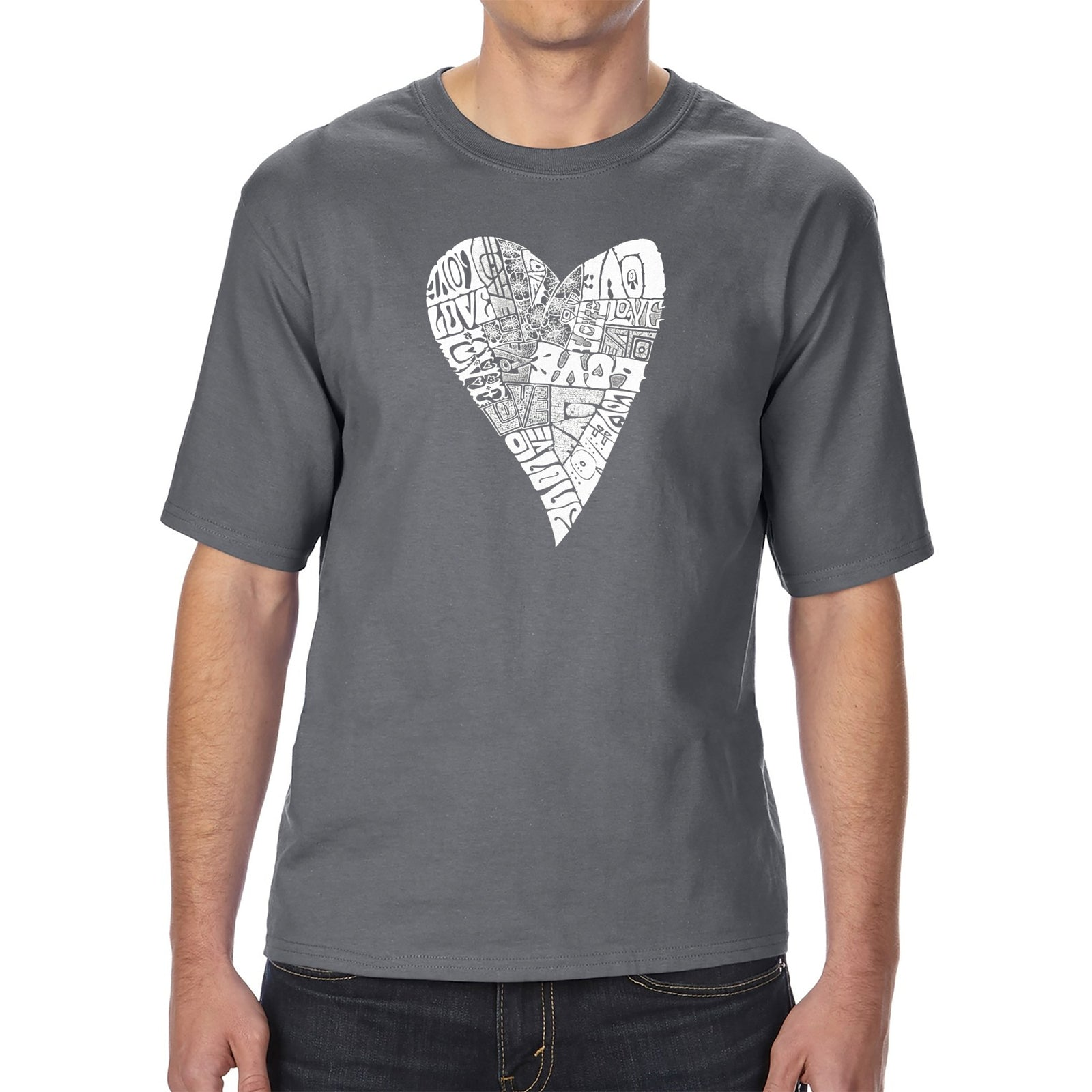 Men's Tall and Long Word Art T-shirt - Lots of Love