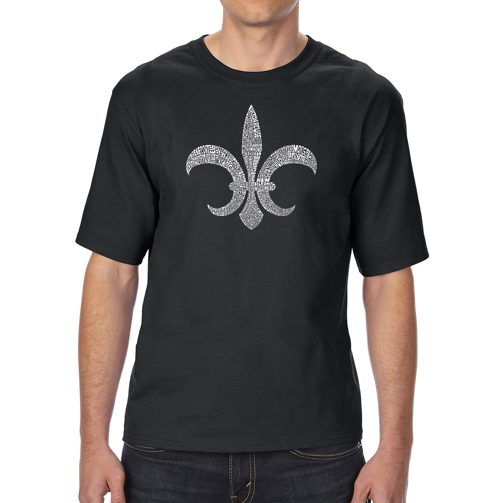 Men's Tall and Long Word Art T-shirt - FLEUR DE LIS - POPULAR LOUISIANA CITIES