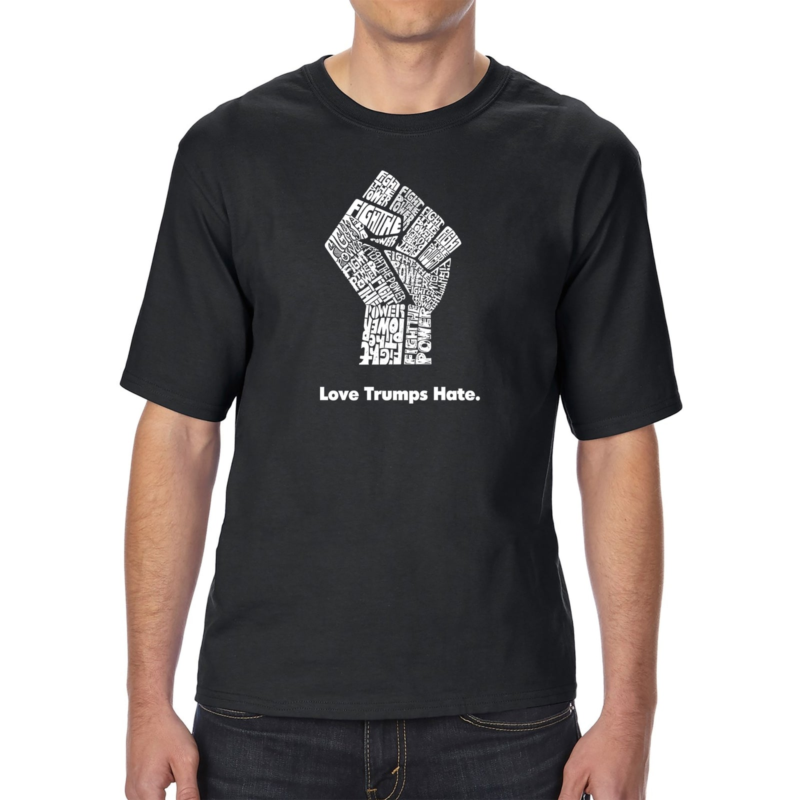 Men's Tall and Long Word Art T-shirt - Love Trumps Hate Fist