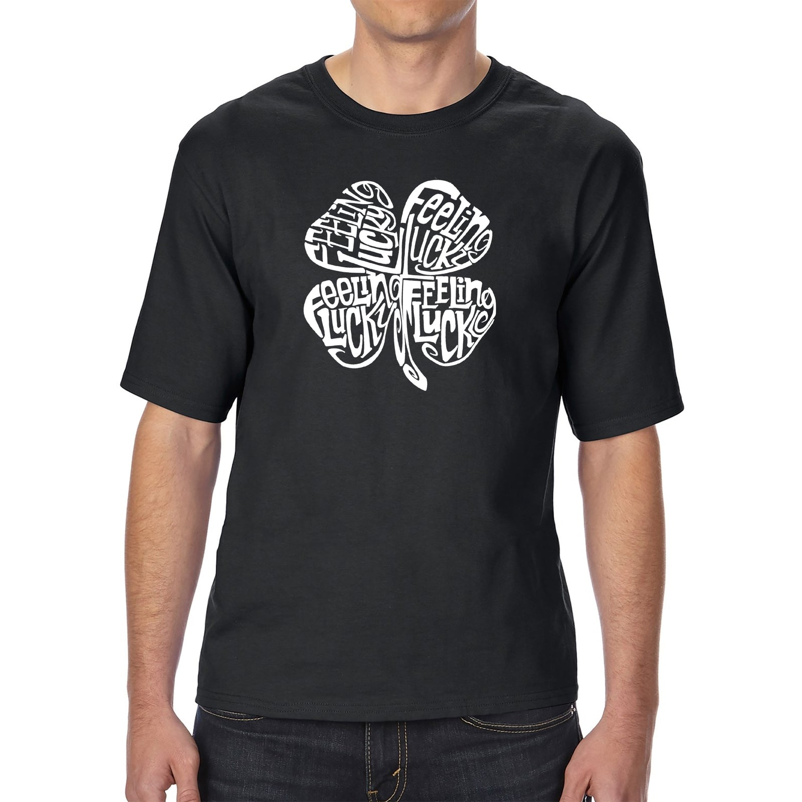 Men's Tall and Long Word Art T-shirt - Feeling Lucky