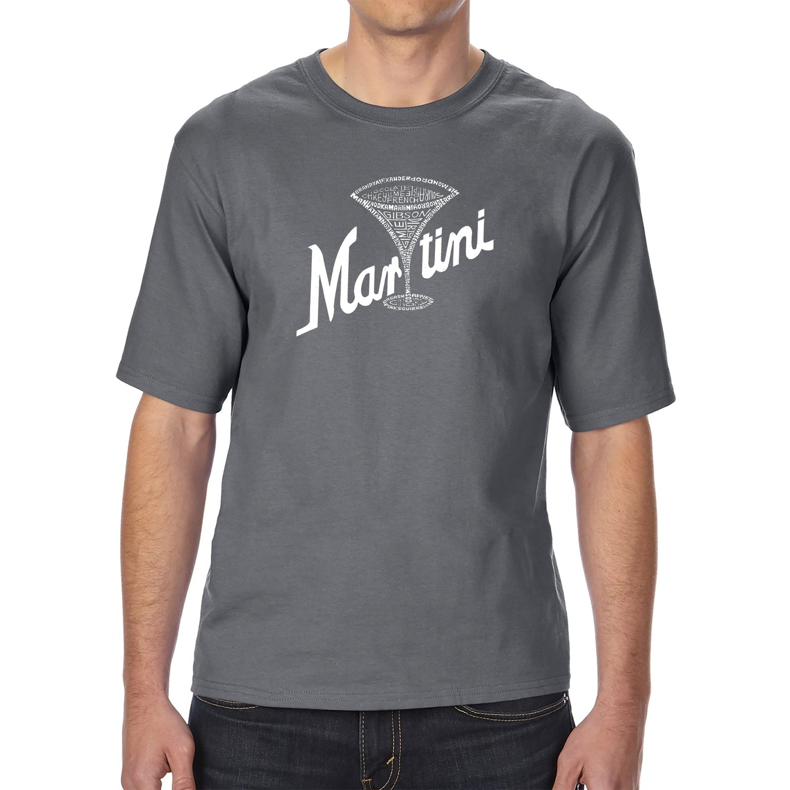 Men's Tall and Long Word Art T-shirt - Martini