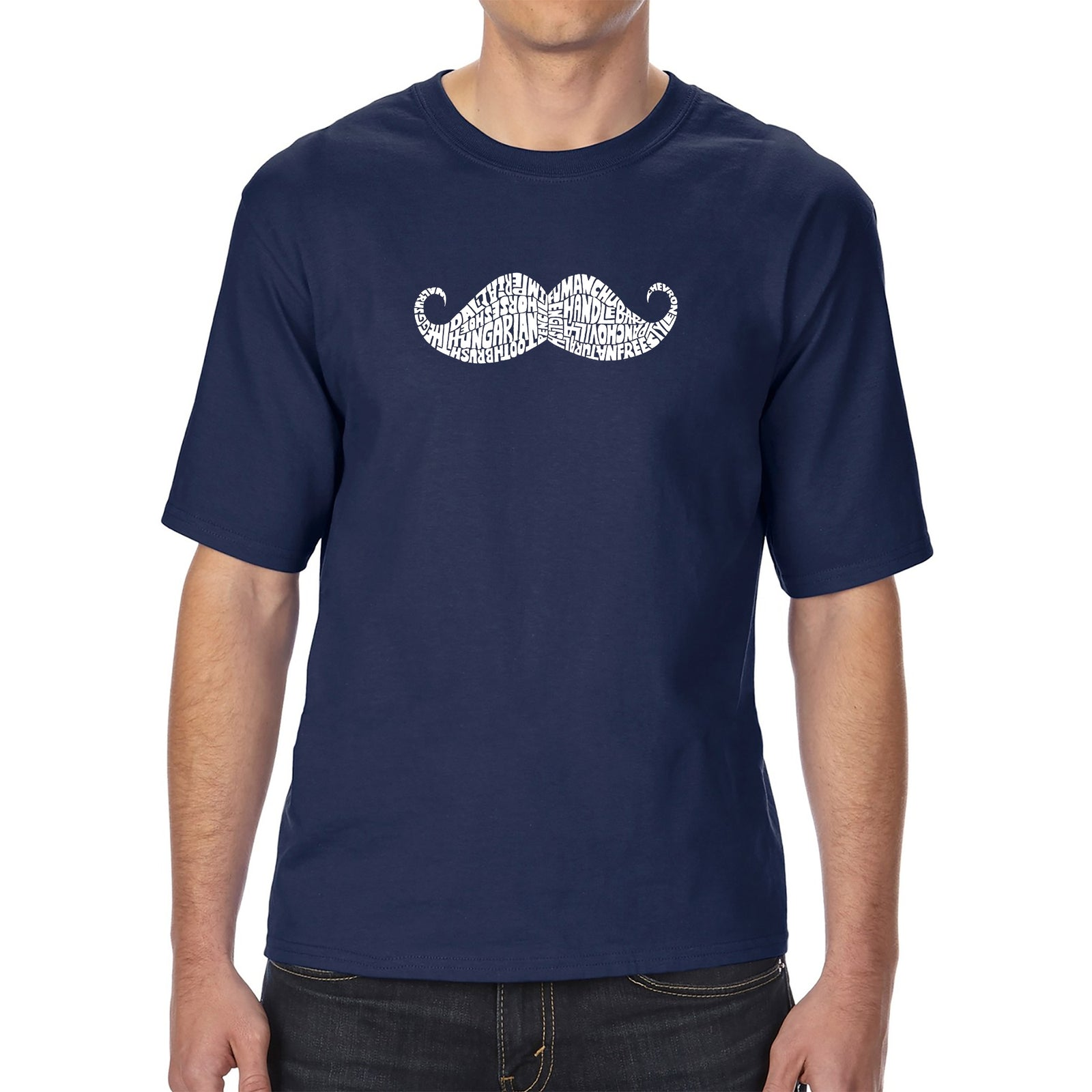 Men's Tall and Long Word Art T-shirt - WAYS TO STYLE A MOUSTACHE