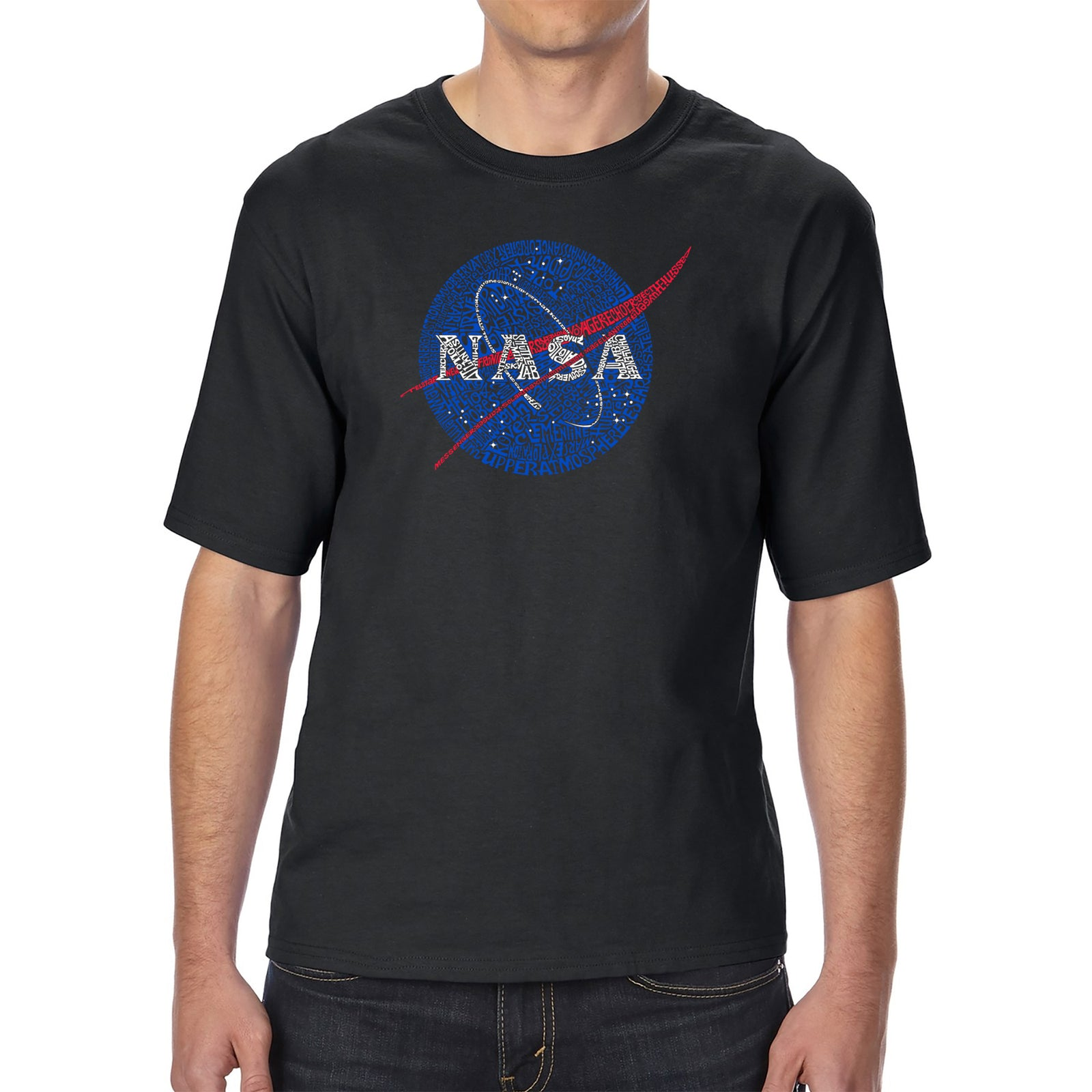 Men's Tall and Long Word Art T-shirt - NASA's Most Notable Missions