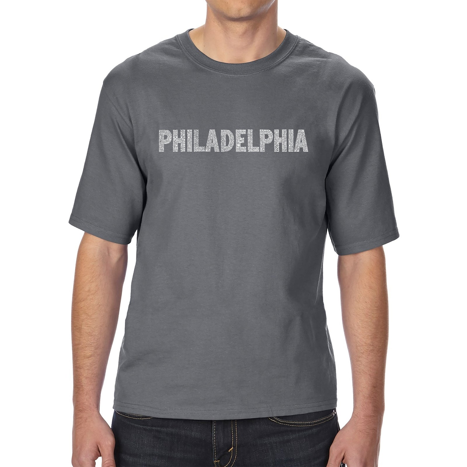 Men's Tall and Long Word Art T-shirt - PHILADELPHIA NEIGHBORHOODS