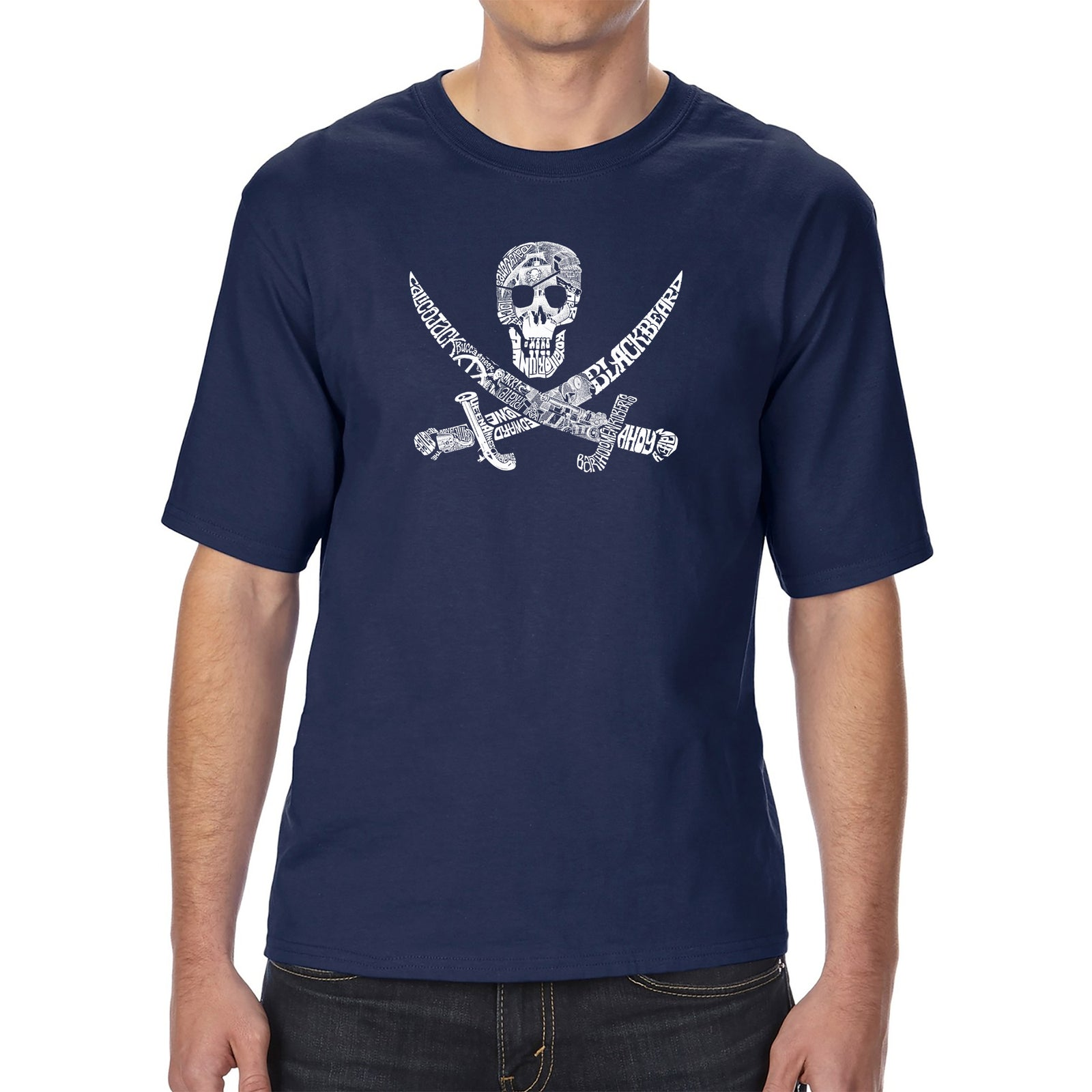 Men's Tall and Long Word Art T-shirt - PIRATE CAPTAINS, SHIPS AND IMAGERY