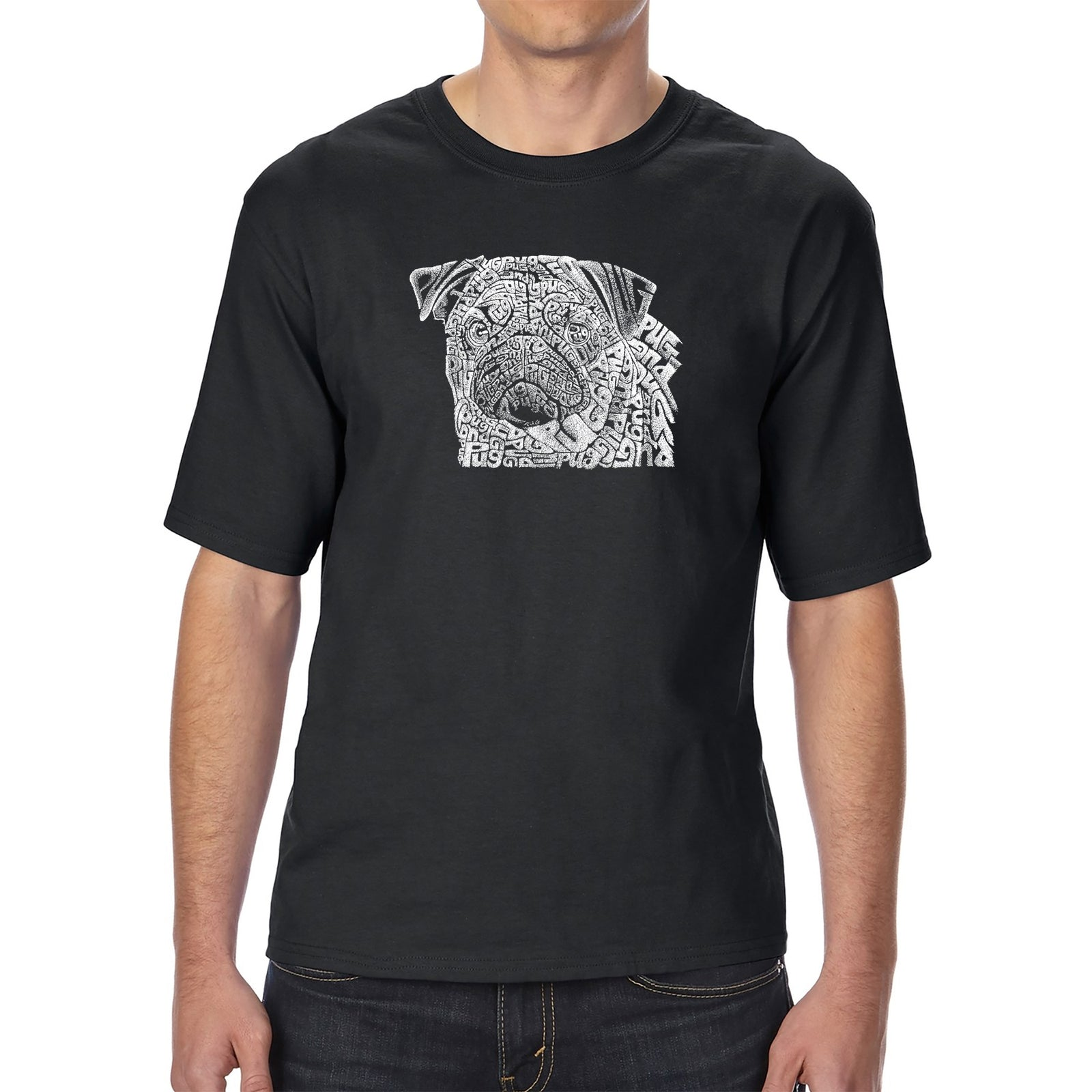 Men's Tall and Long Word Art T-shirt - Pug Face