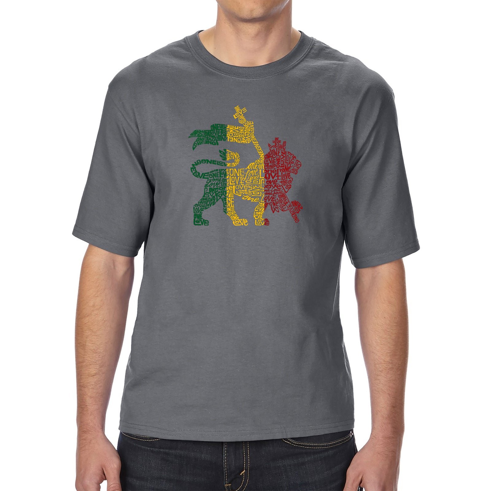 Men's Tall and Long Word Art T-shirt - Rasta Lion - One Love