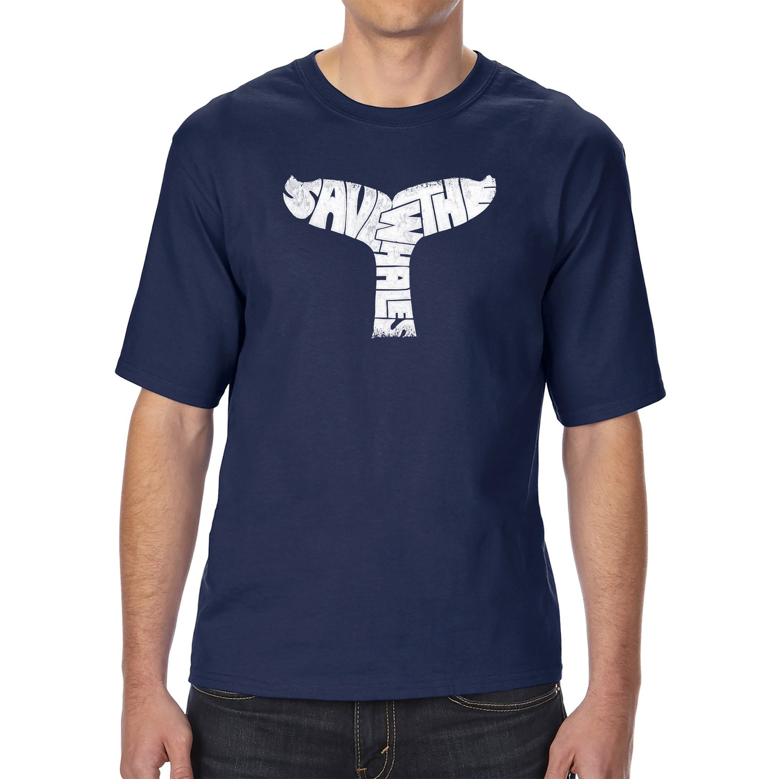 Men's Tall and Long Word Art T-shirt - SAVE THE WHALES