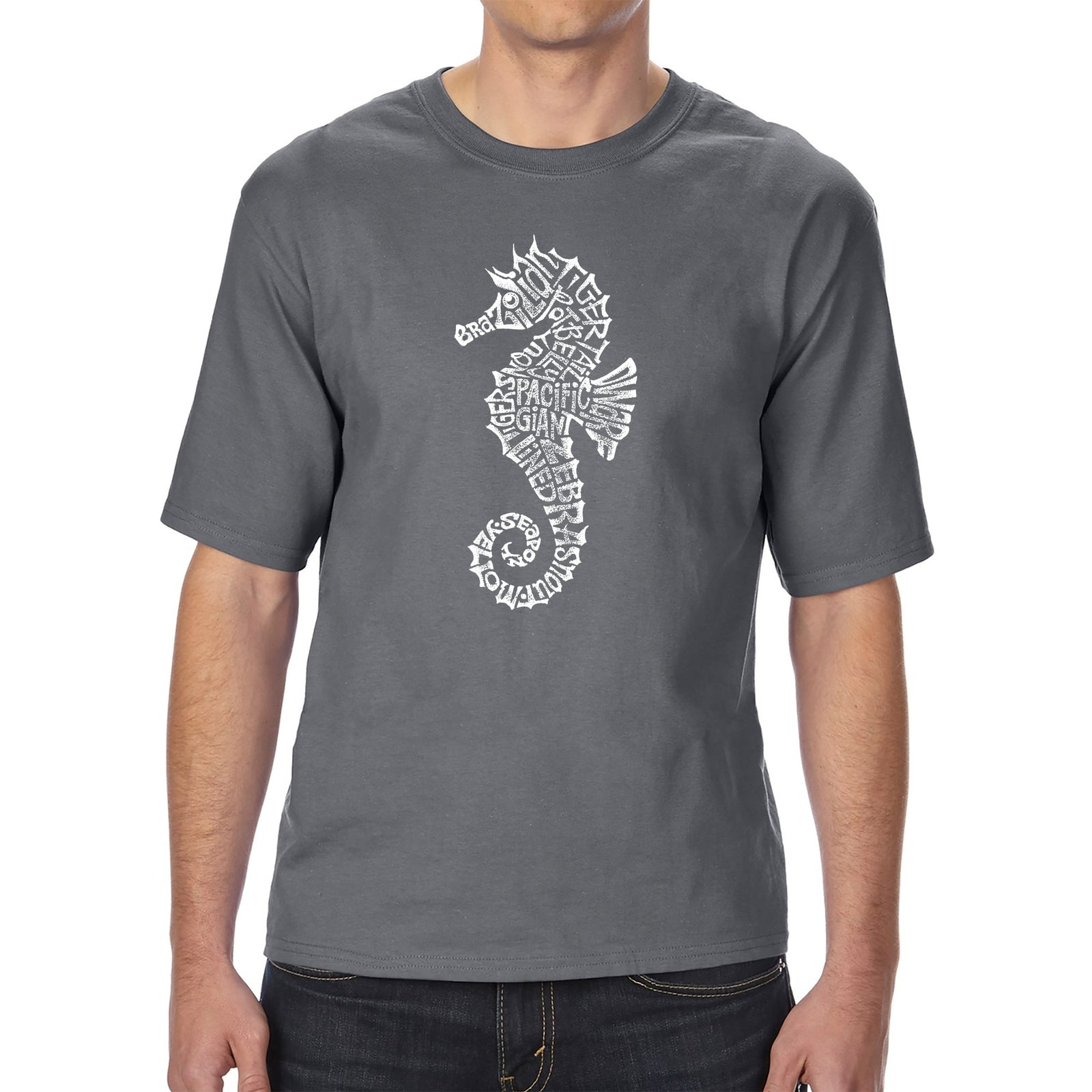 Men's Tall and Long Word Art T-shirt - Types of Seahorse