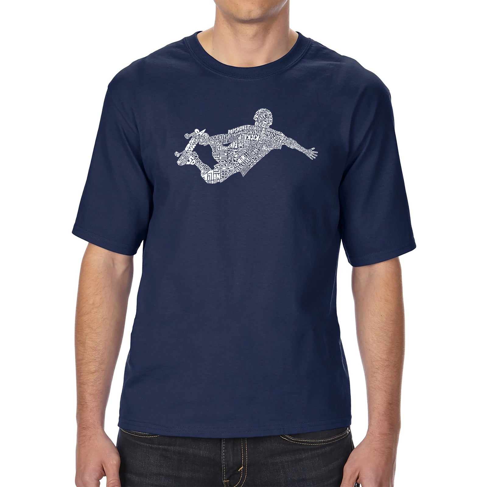 Men's Tall and Long Word Art T-shirt - POPULAR SKATING MOVES & TRICKS