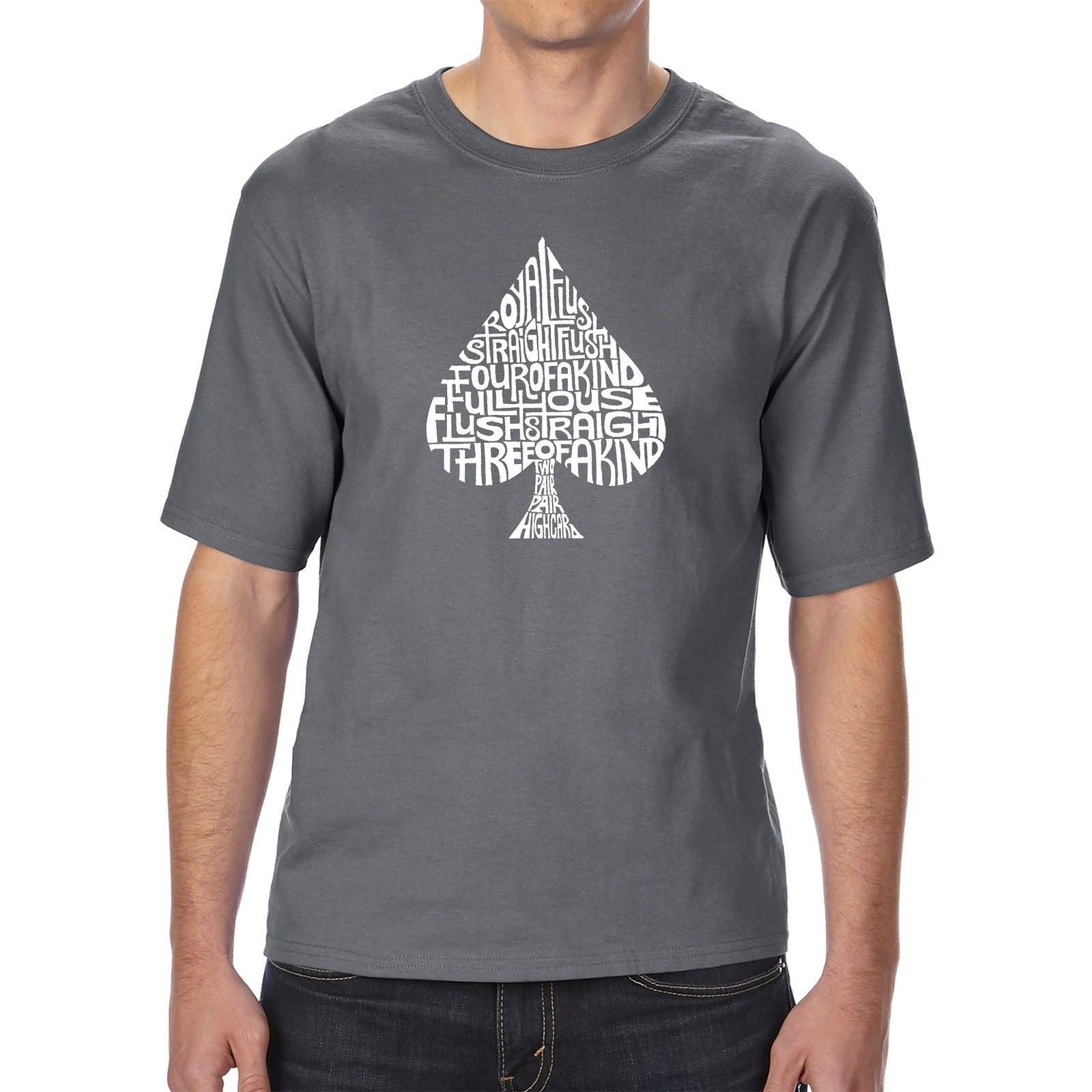 Men's Tall and Long Word Art T-shirt - ORDER OF WINNING POKER HANDS