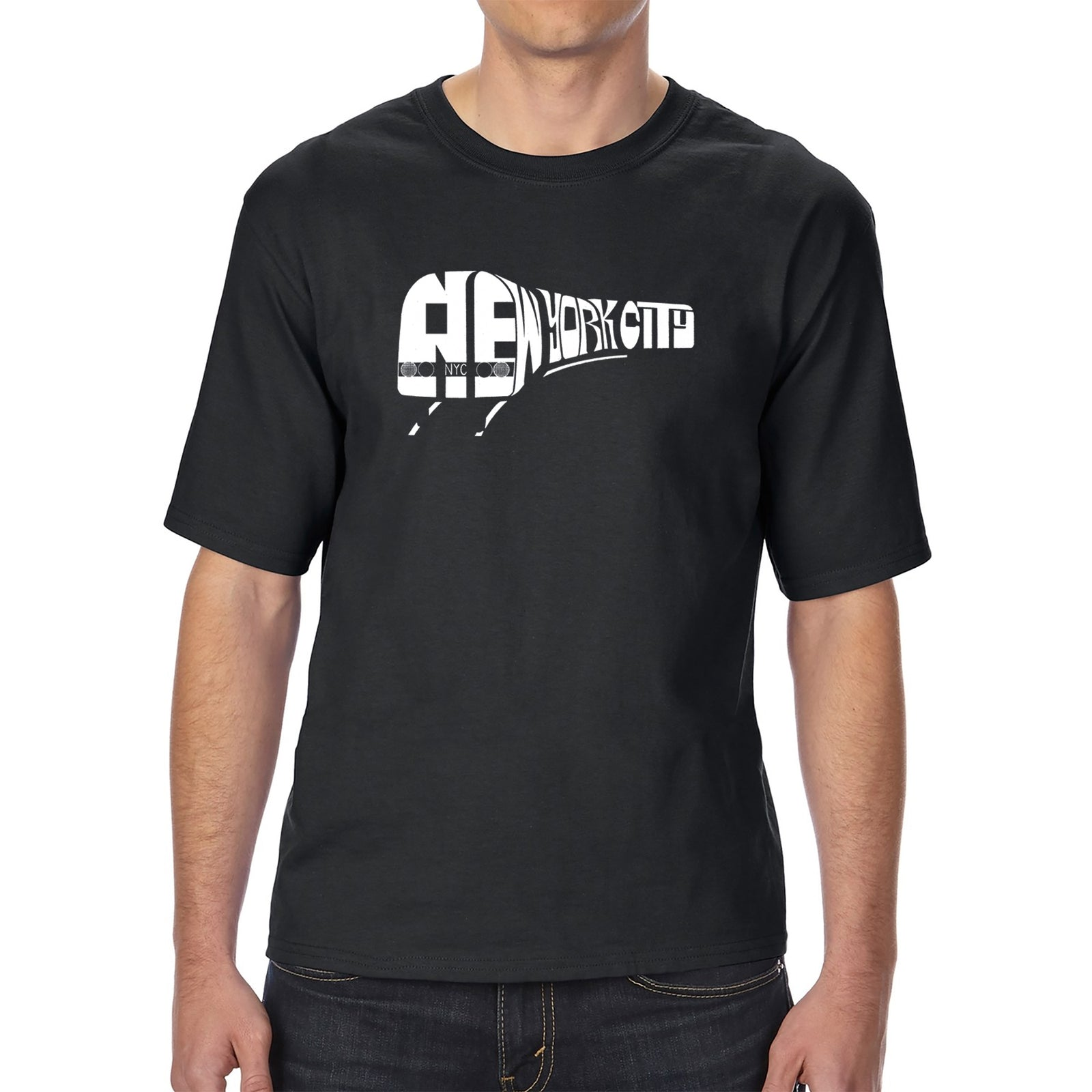Men's Tall and Long Word Art T-shirt - NY SUBWAY