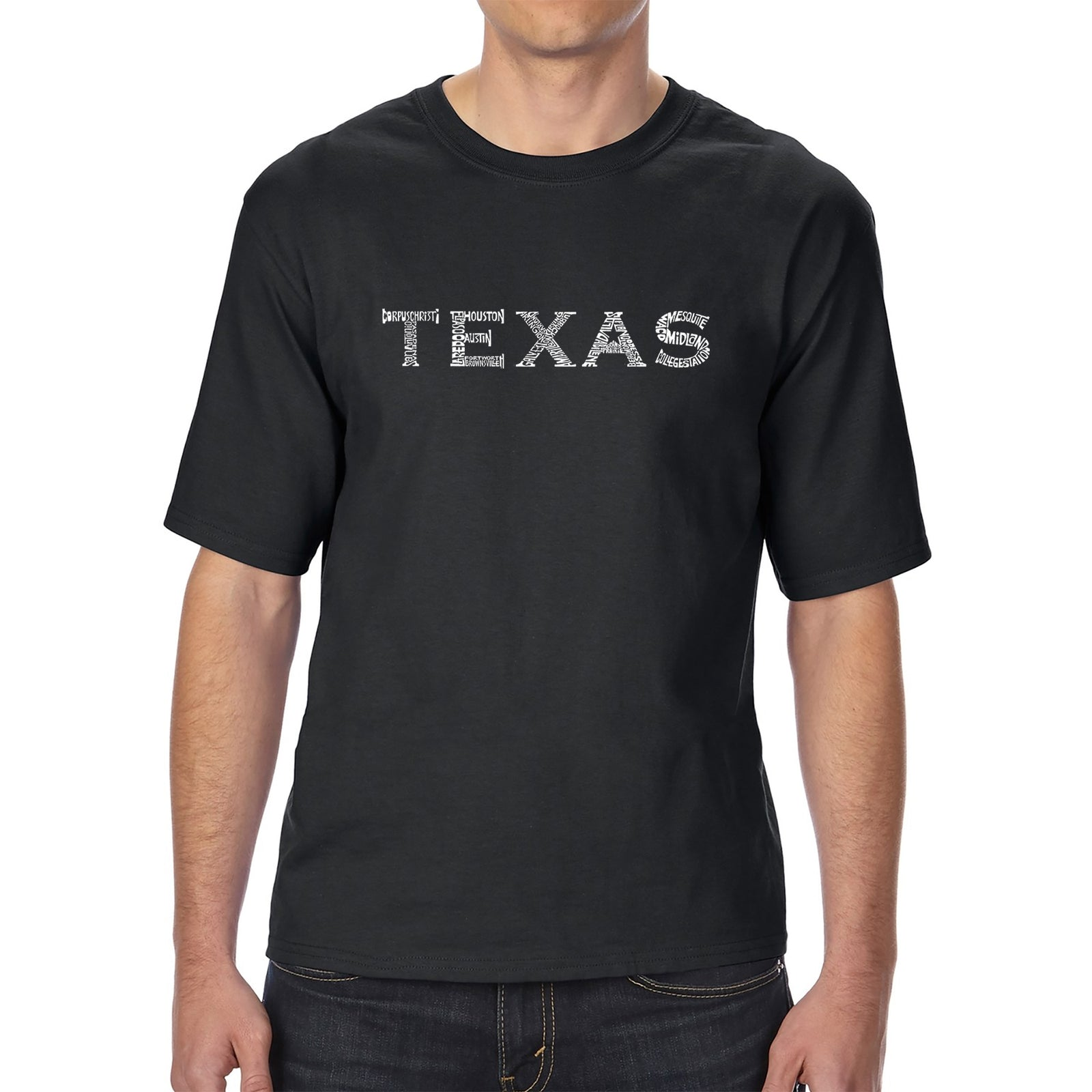 Men's Tall and Long Word Art T-shirt - THE GREAT CITIES OF TEXAS
