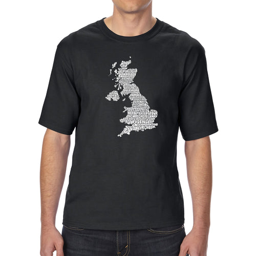 Men's Tall and Long Word Art T-shirt - GOD SAVE THE QUEEN
