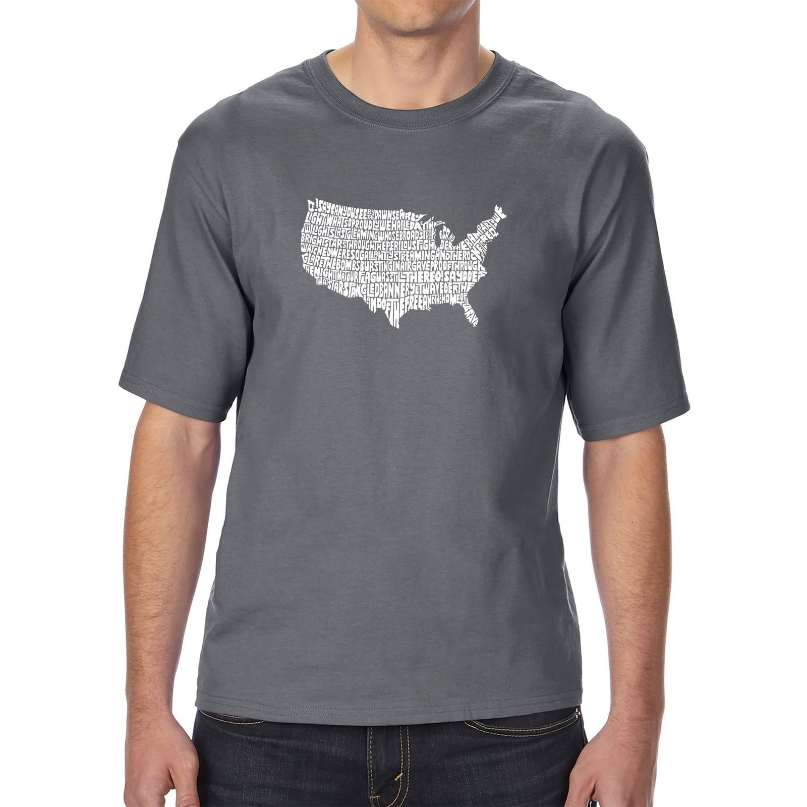Men's Tall and Long Word Art T-shirt - THE STAR SPANGLED BANNER
