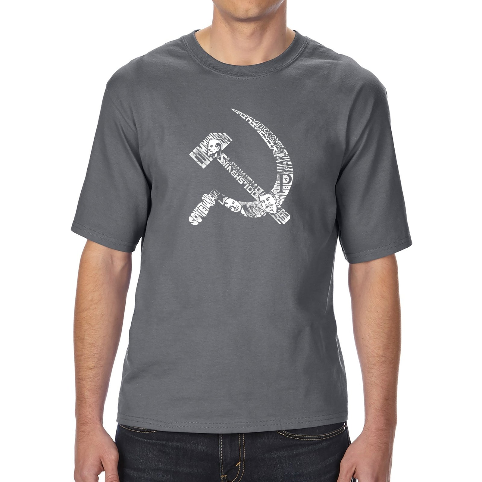 Men's Tall and Long Word Art T-shirt - SOVIET HAMMER AND SICKLE