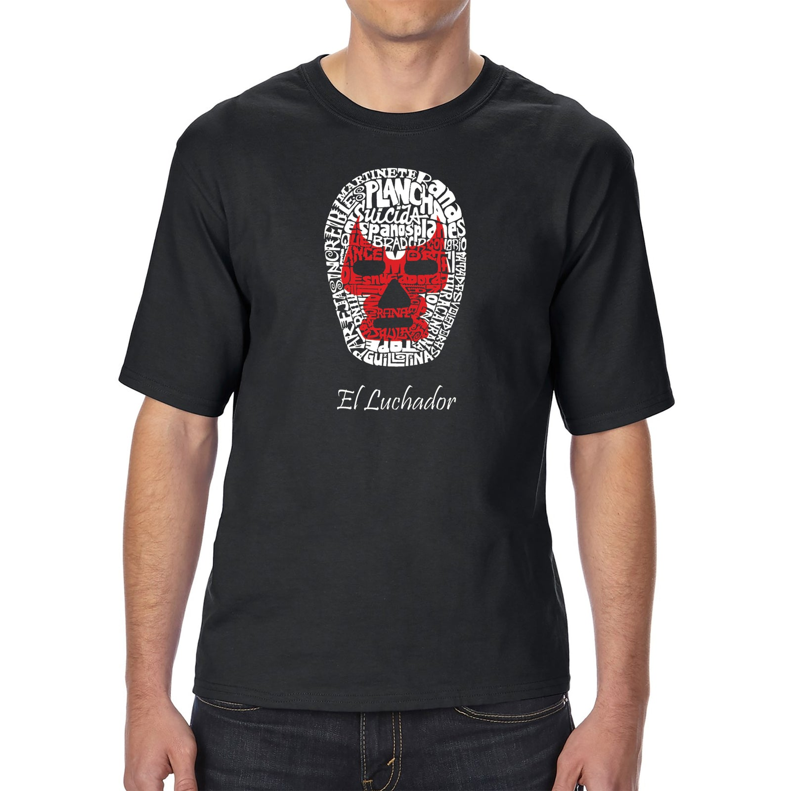 Men's Tall and Long Word Art T-shirt - MEXICAN WRESTLING MASK
