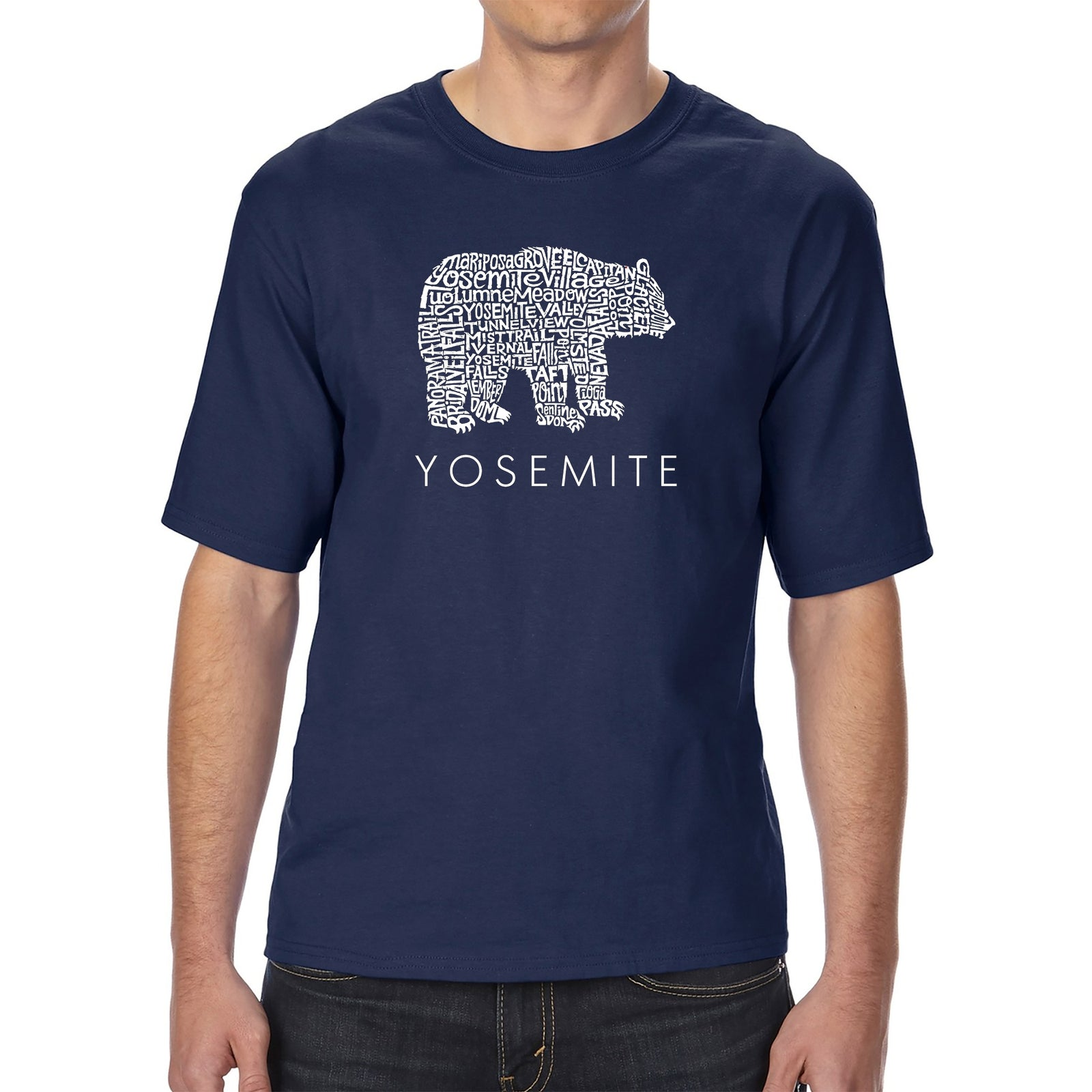 Men's Tall and Long Word Art T-shirt - Yosemite Bear