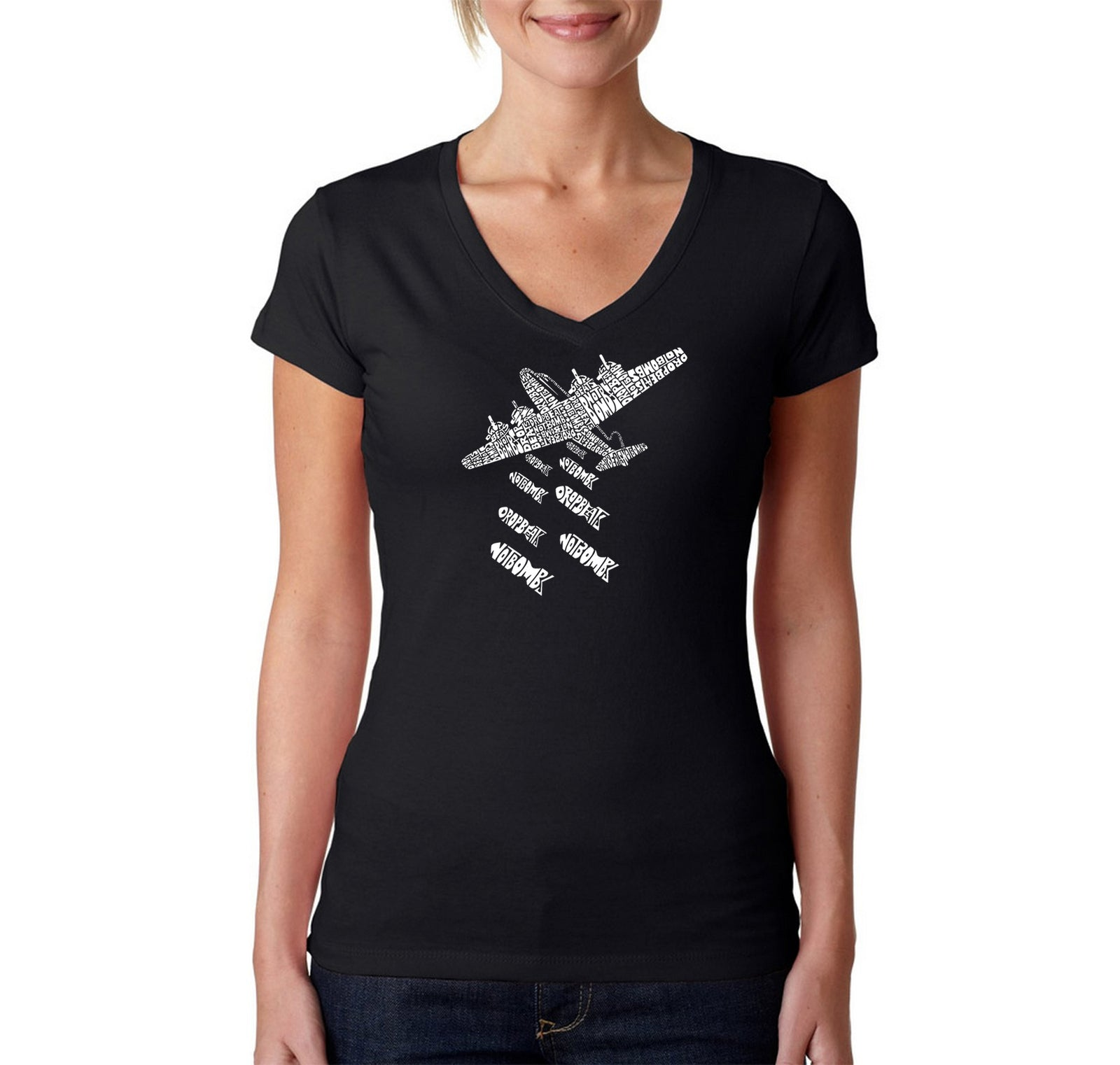 Women's V-Neck T-Shirt - DROP BEATS NOT BOMBS
