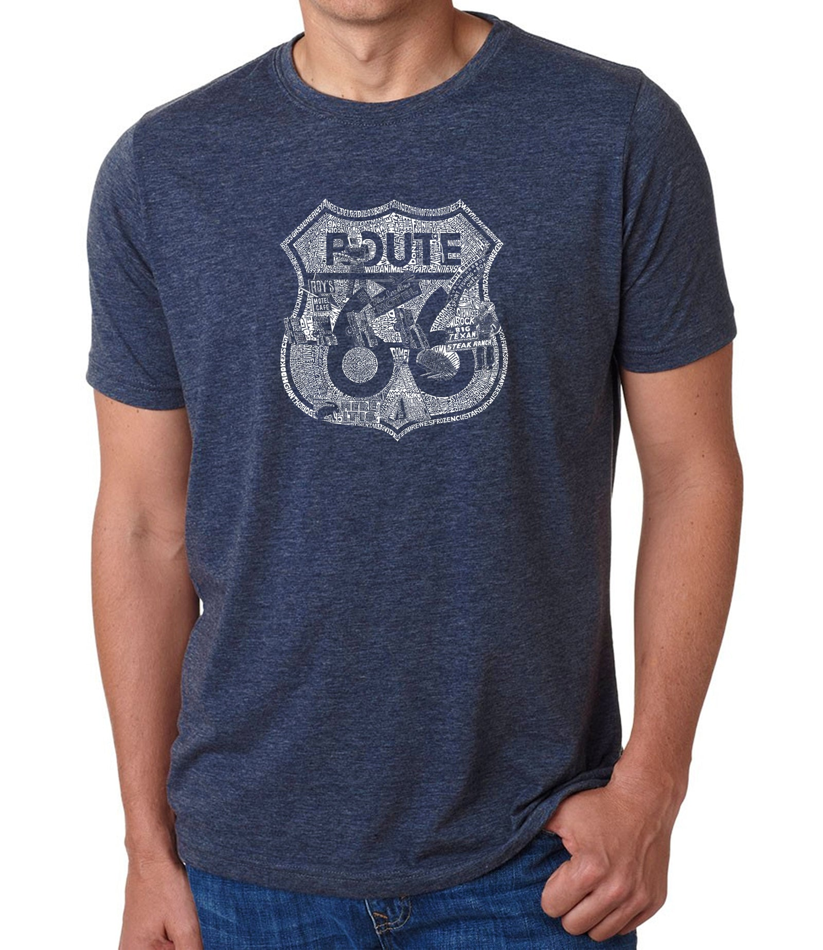 Men's Premium Blend Word Art T-shirt - Stops Along Route 66