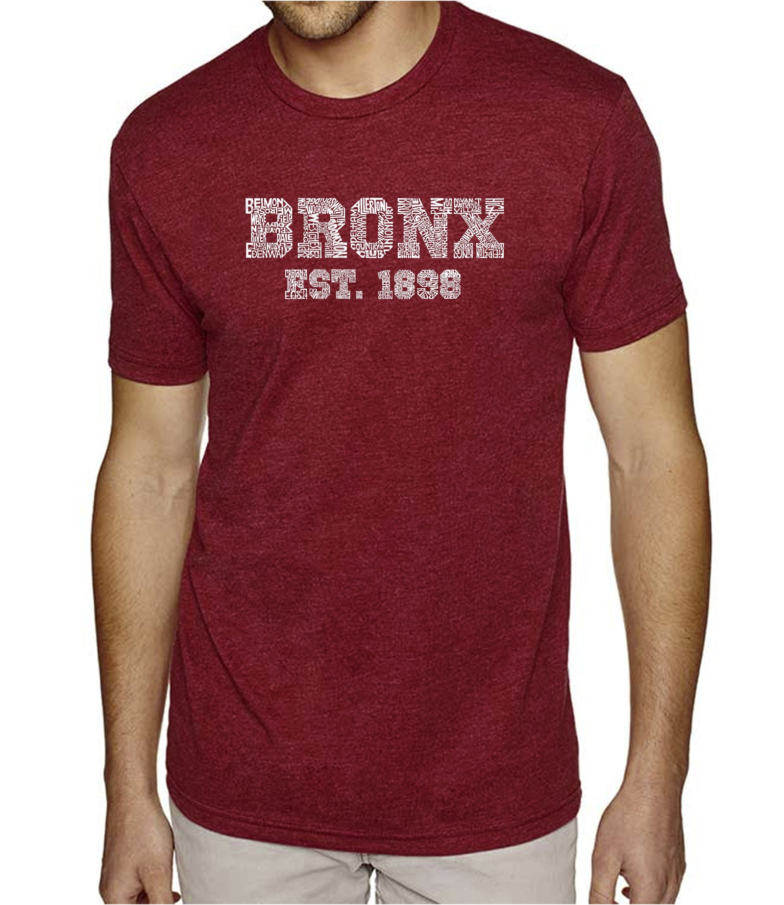 Men's Premium Blend Word Art T-shirt - POPULAR NEIGHBORHOODS IN BRONX, NY
