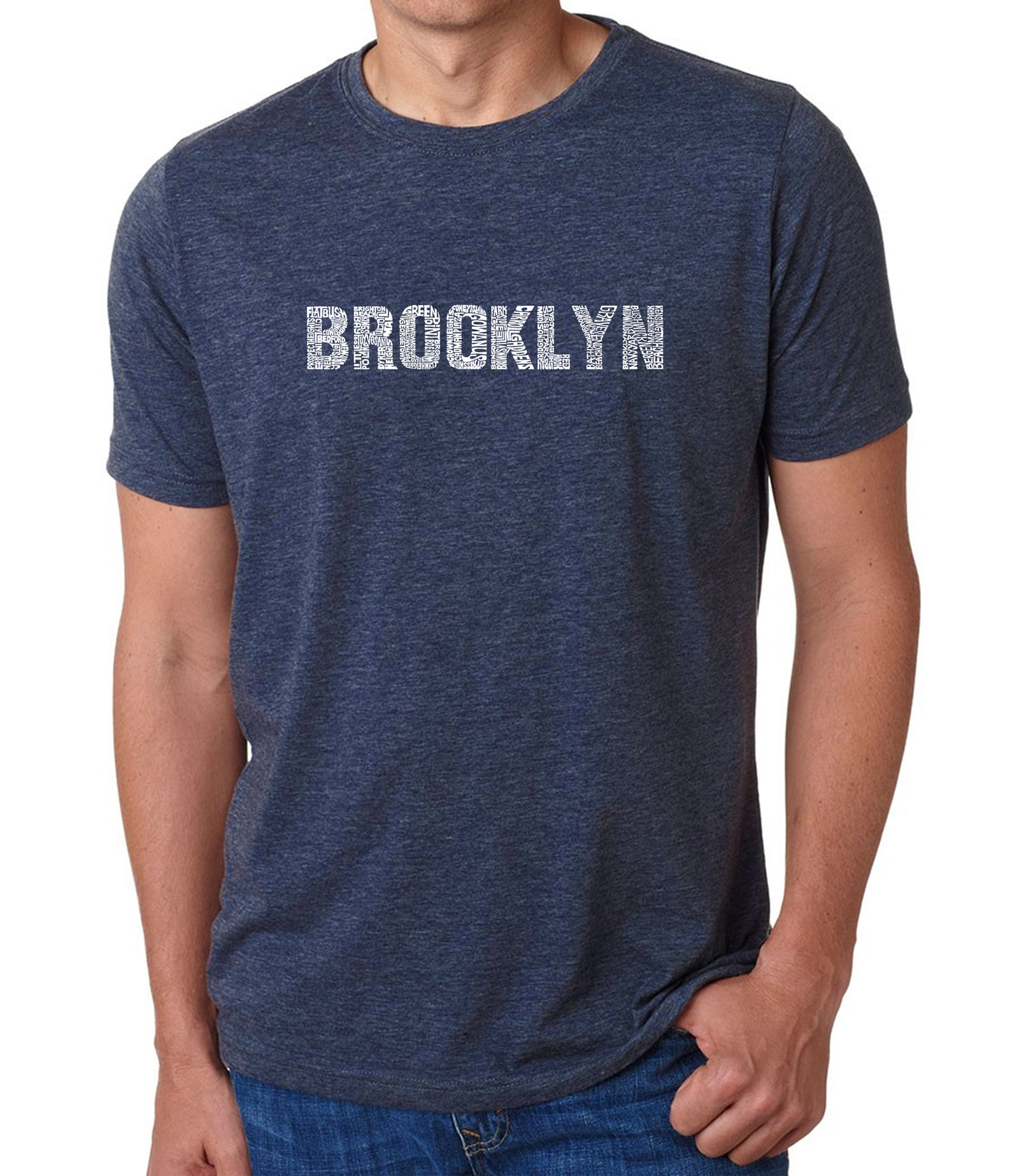 Men's Premium Blend Word Art T-shirt - BROOKLYN NEIGHBORHOODS