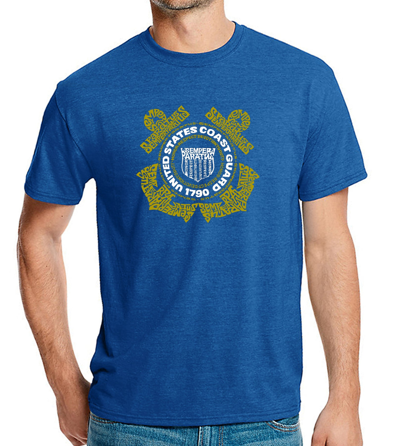 LA Pop Art Men's Premium Blend Word Art T-shirt - Coast Guard