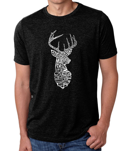 Men's Premium Blend Word Art T-shirt - Types of Deer