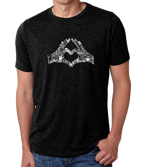 Men's Premium Blend Word Art T-shirt - Finger Heart