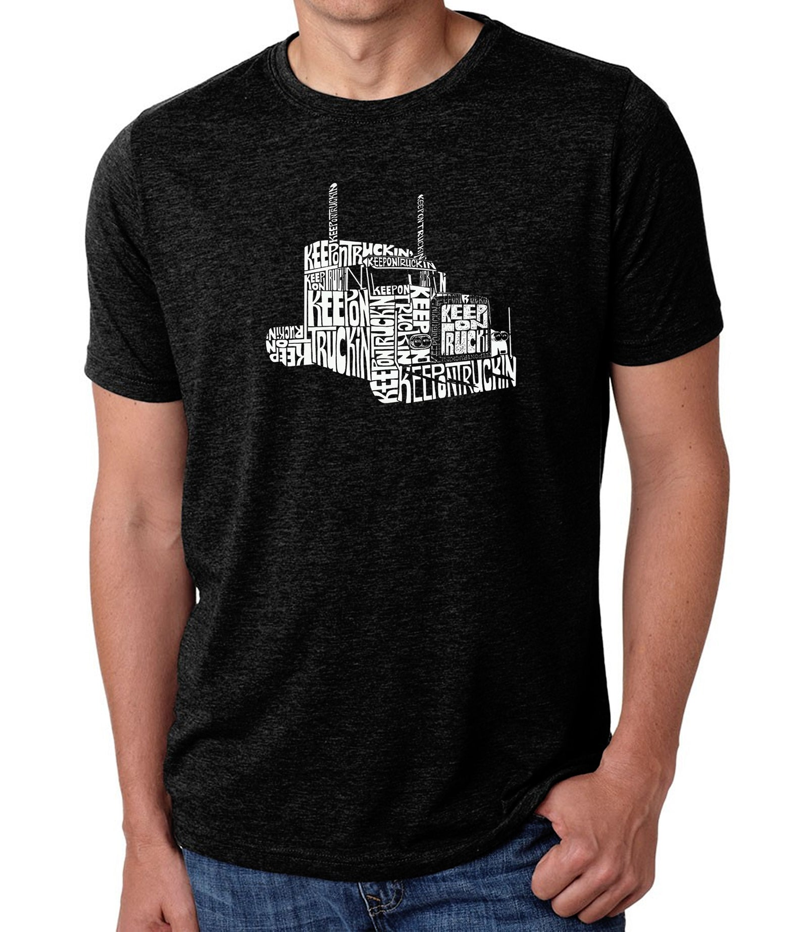 Men's Premium Blend Word Art T-shirt - KEEP ON TRUCKIN'
