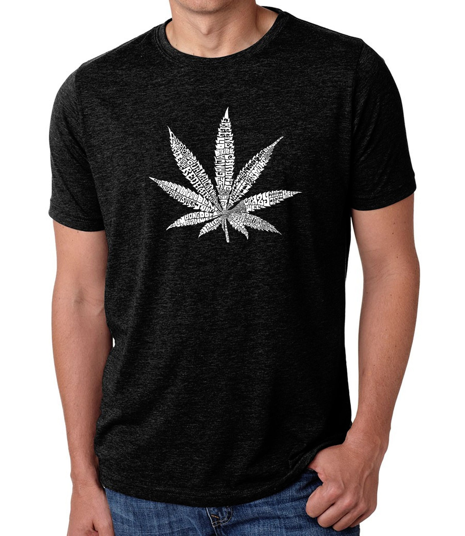 Men's Premium Blend Word Art T-shirt - 50 DIFFERENT STREET TERMS FOR MARIJUANA
