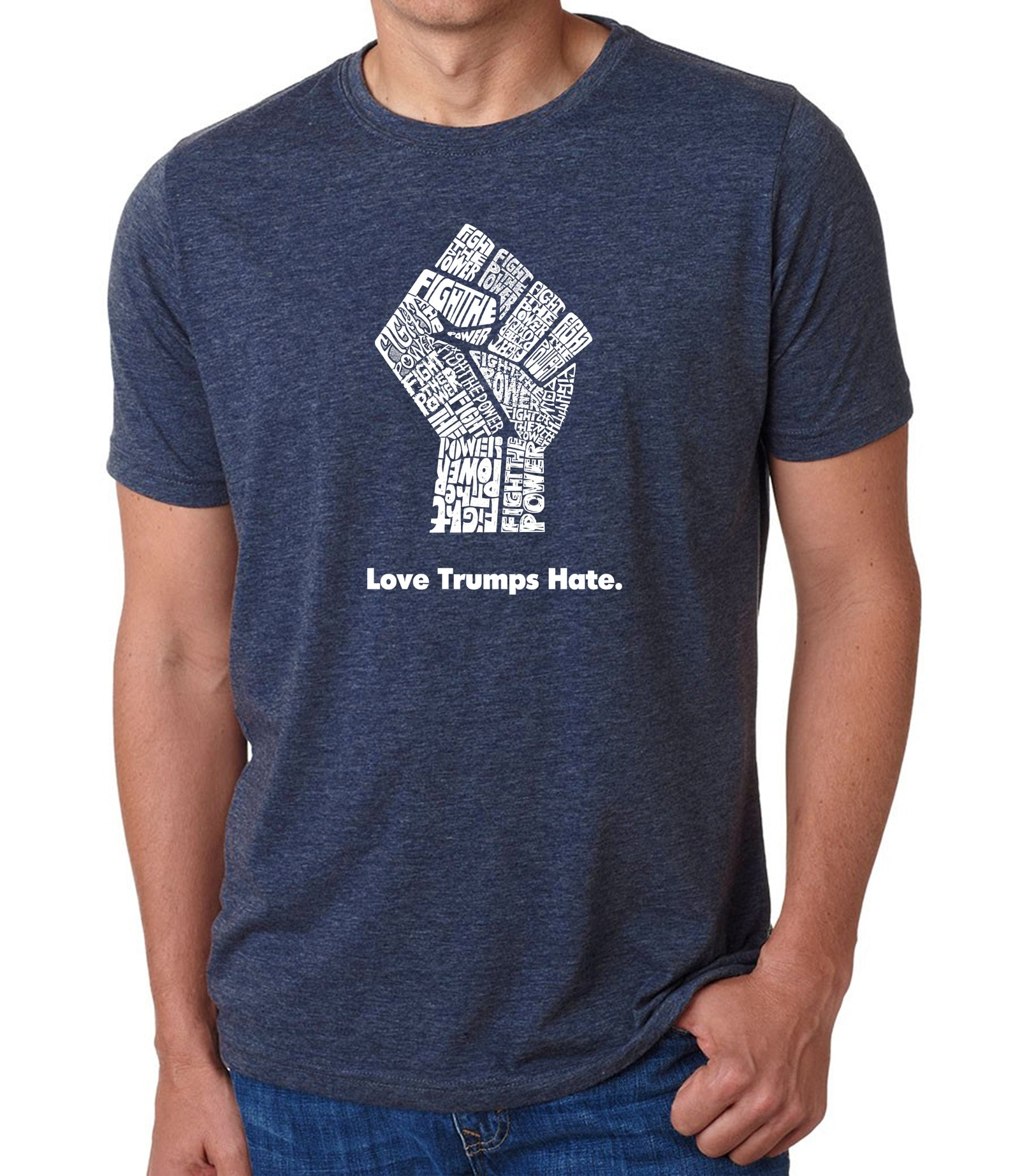 Men's Premium Blend Word Art T-shirt - Love Trumps Hate Fist