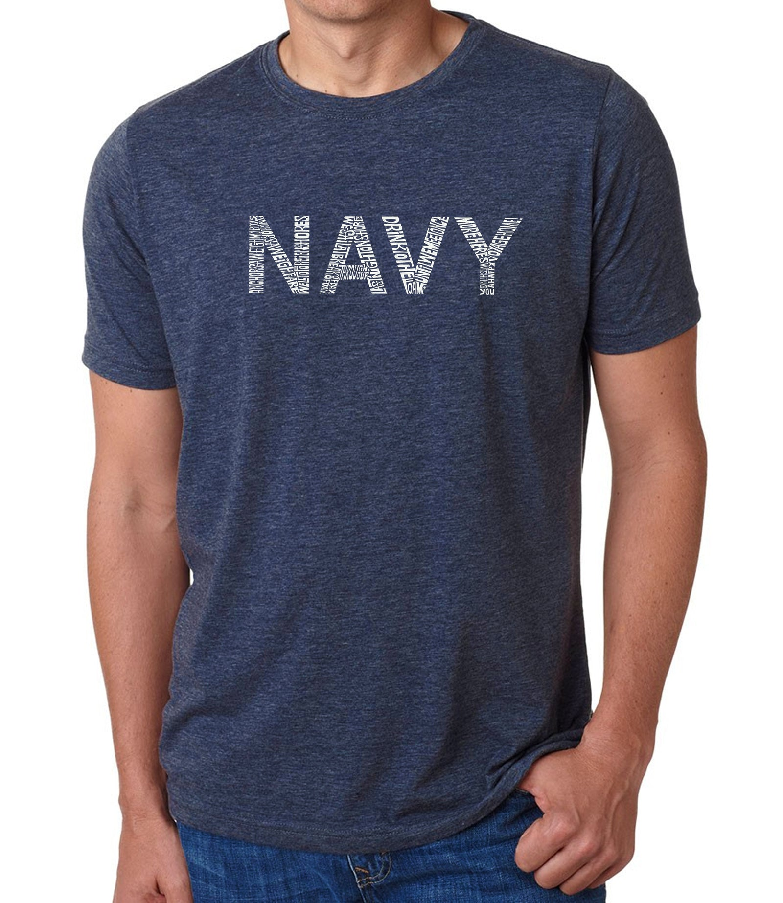 Men's Premium Blend Word Art T-shirt - LYRICS TO ANCHORS AWEIGH