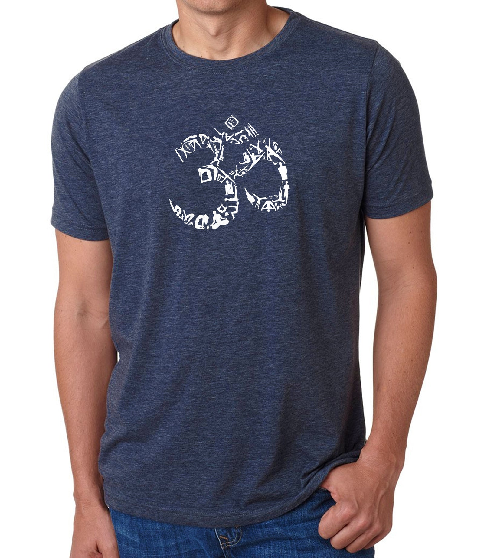 Men's Premium Blend Word Art T-shirt - THE OM SYMBOL OUT OF YOGA POSES