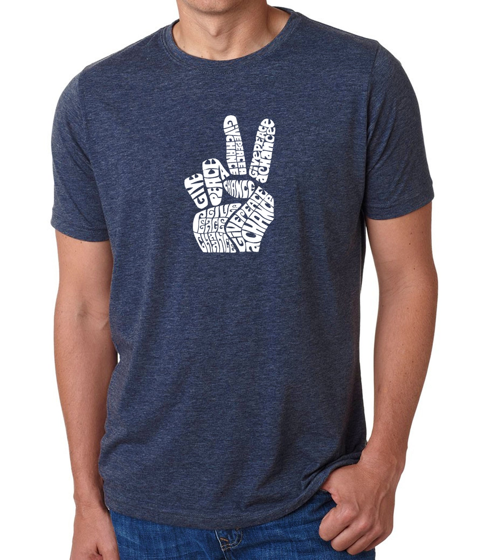 Men's Premium Blend Word Art T-shirt - PEACE FINGERS