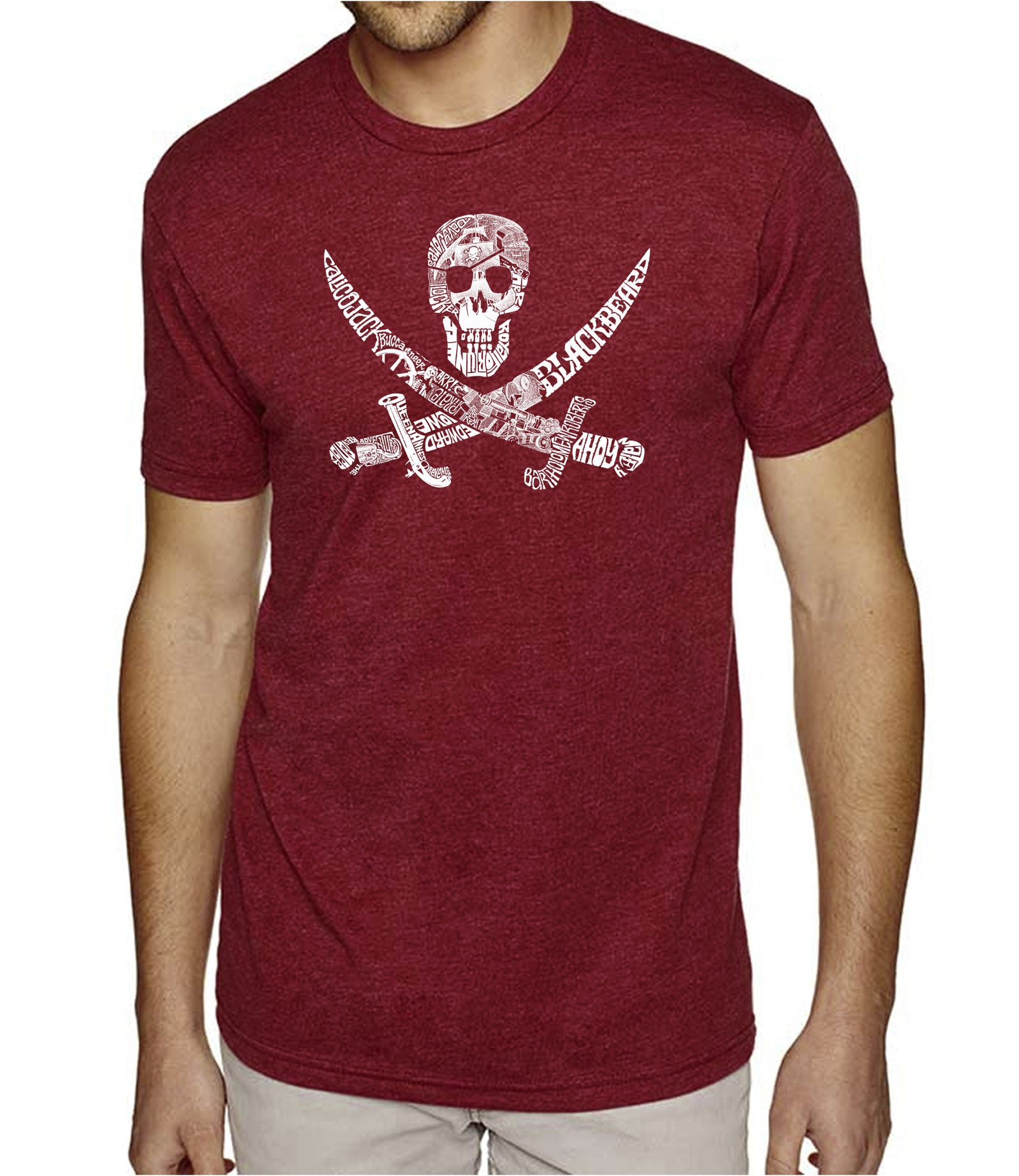 Men's Premium Blend Word Art T-shirt - PIRATE CAPTAINS, SHIPS AND IMAGERY