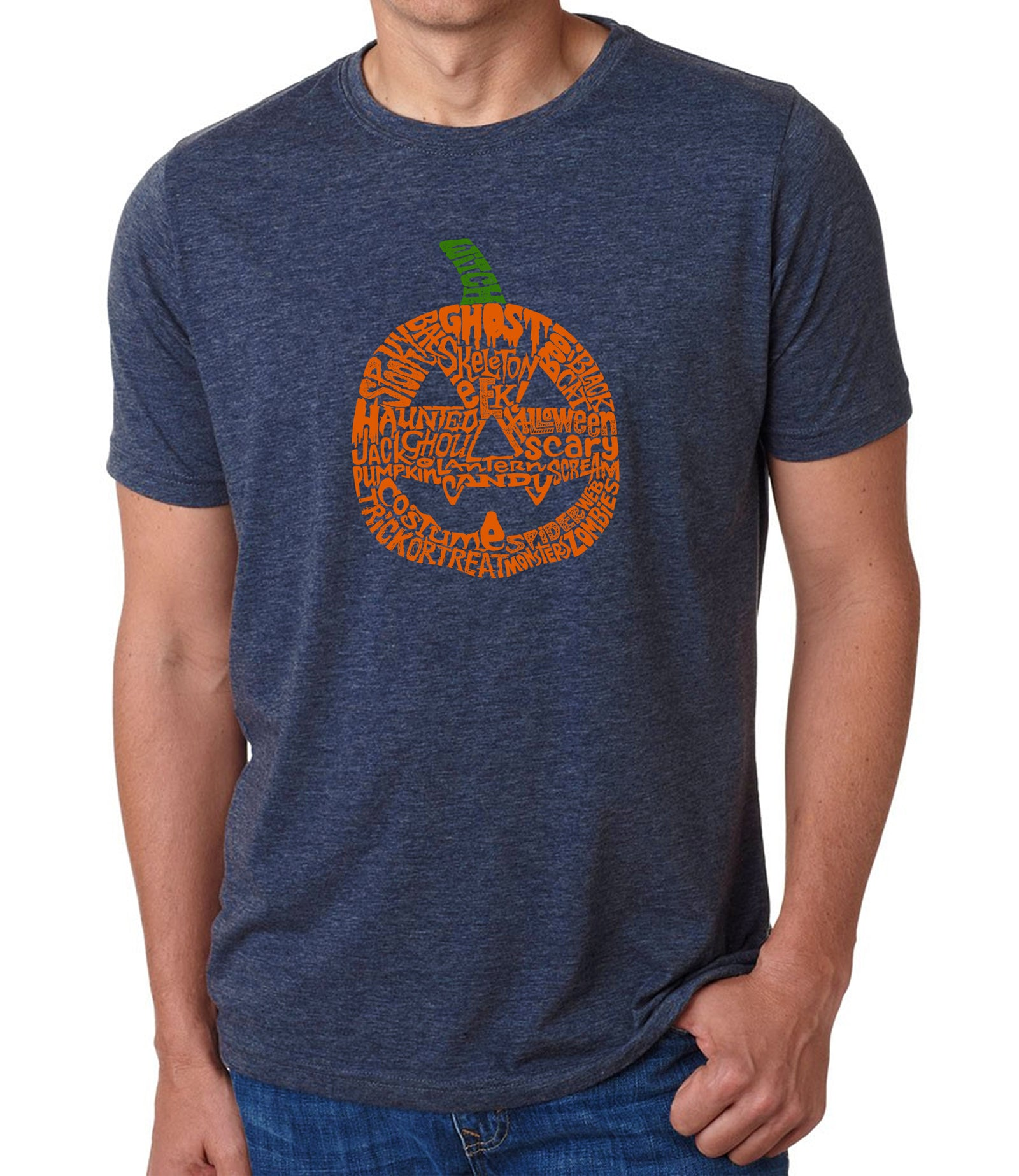 LA Pop Art Men's Premium Blend Word Art T-shirt - Pumpkin