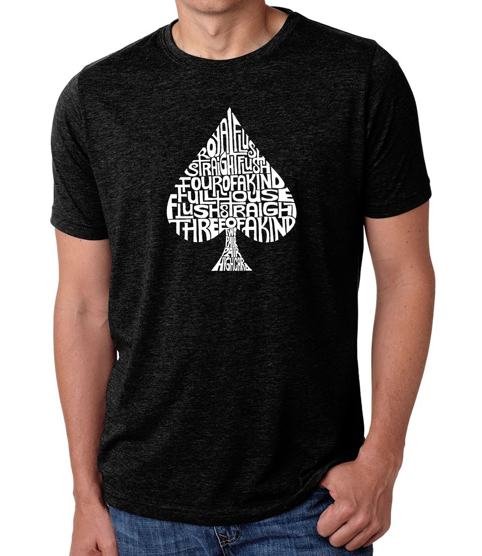 Men's Premium Blend Word Art T-shirt - ORDER OF WINNING POKER HANDS