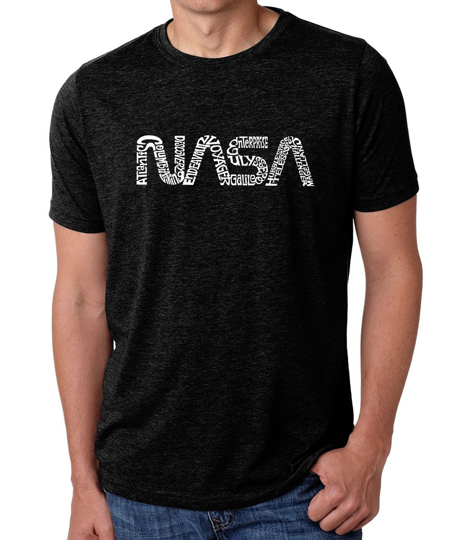LA Pop Art Men's Premium Blend Word Art T-shirt - Worm Nasa