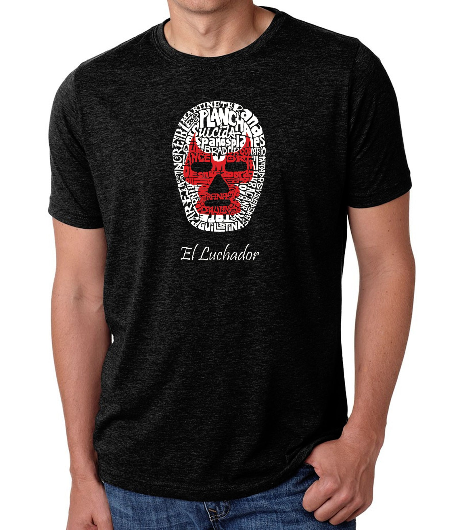 Men's Premium Blend Word Art T-shirt - MEXICAN WRESTLING MASK